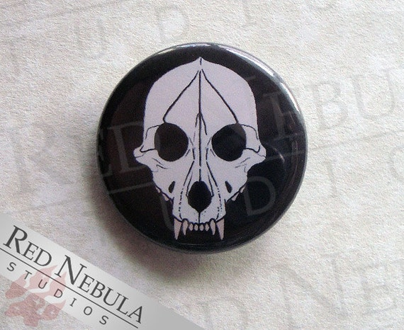 Wolf Skull Pinback Button, Magnet or Keychain, Dog Skull Pin, Creepy Button, Canine Skeleton Button, Coyote Skull, Werewolf, Black and White