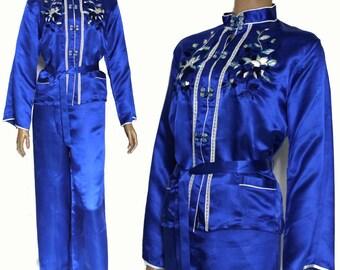 Vintage Pajamas // 1950s// Silk // Royal Blue // Japanese Lounger // Matching Belt //  Vintage Lingerie //  Embroidered