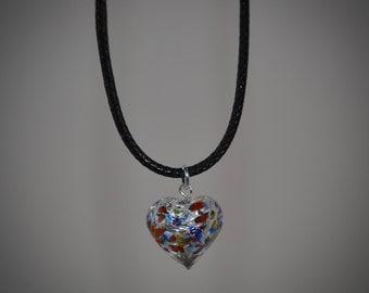 Small Murano Glass Heart Choker.