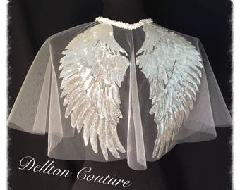 Angel Wing White Bridal Vintage Tulle Capelet Cape Silver Sequin fairy wings