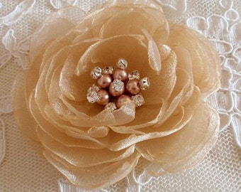 Singed Flower Singed Rose Organza Flower Fabric Flower Fabric Rose Pearl and Rhinestone (3-3/4 inches) In Tan MY-644-02 Ready To Ship