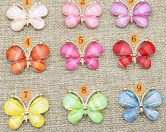 9 Flat Back Butterfuiles Button Embellishment (30x23 mm) DT-305