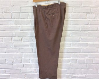 Vintage 1950s Men's Brown Button Fly Summer Weight Slacks w/ Western Style Belt Loops. Size 40x28