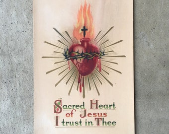 Old Vintage Sacred Heart Of Jesus I Trust In Thee Rosary Shrine Religious Print Unframed L117C22