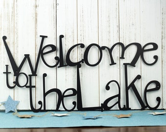 "Welcome To The Lake Metal Sign | Lake House Decor | Metal Wall Art | Outdoor Sign | Sign | Lake Wall Decor | Cabin Decor | 24""W x 12""H"