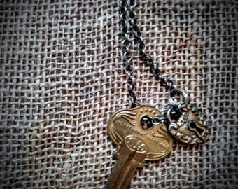 Steampunk Little Lock and Key Necklace