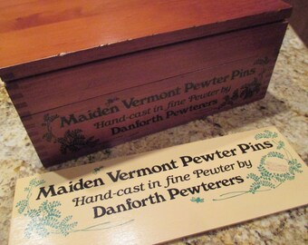 SALE rare Vintage advertising dovetail  jewelry store display box Maiden Vermont Pewter Pins Danforth Pewterers and advertising sign