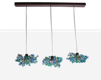 Triple Pendant Chandelier ceiling lighting -blue jumping flowers for Kitchen Island, Dinning Room.