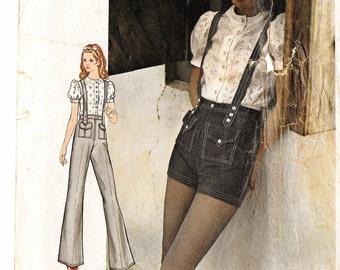 """A Short Sleeve Blouse & Flared Pants/Short-Short Hotpants w/Shoulder Straps Pattern: Uncut/No Env. - Retro Size 7 Bust 31"""" • Butterick 6243"""