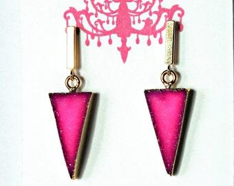 Hot Pink Druzy Earrings / Triangle Earrings / Geometric Earrings / Modern Earrings with Gold Bar Earring Posts