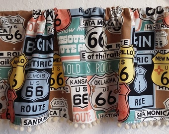 Route 66 Travel Trailer valances with vintage ivory pom trim
