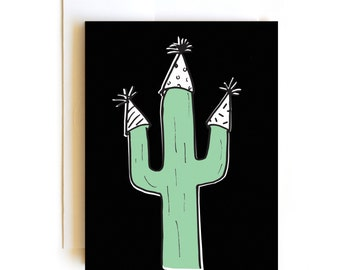 Cactus Birthday Party Card - Hand Drawn Card - Confetti Card - Desert Card - Boy Birthday - Girl Birthday - Husband Birthday