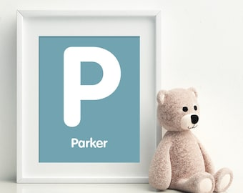 P is for PARKER -  Initial Letter Alphabet Personalized Name Wall Art Home Decor Nursery Wall Art, Children's Wall Art, Playroom Decor