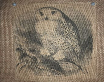 Snowy White Owl Burlap Picture