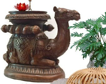 Vintage End Table Camel Stool Garden Stool Plant Stand Egyptian Camel Moroccan Table Decor Side Table Bohemian Decor Middle Eastern Decor