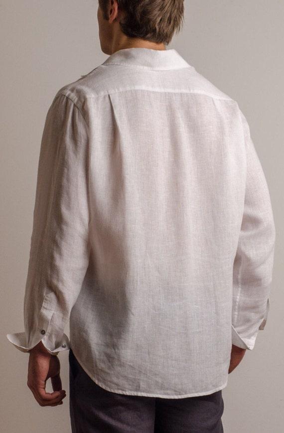 Men White Linen Shirt Beach Wedding Party Special Occasion