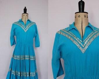 Vintage 1950s Patio dress - 50s western squaw dress - Western dress - Southwest dress -  Rick rack dress - Cowgirl dress - Circle skirt
