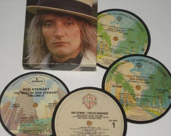 ROD STEWART Coasters for drinks, vinyl record coaster set