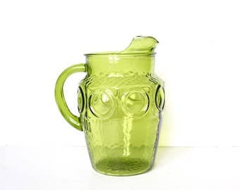 Vintage Green glass Water pitcher / Mid-Century Water Pitcher