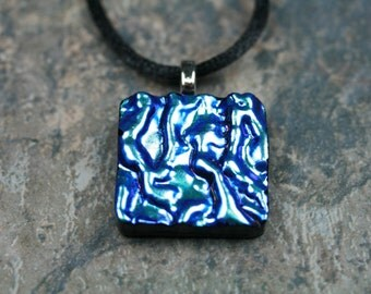 Handcrafted, Dichroic Glass Jewelry, Fused Glass Pendant, Blue,  p288