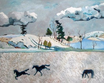 Blue Monday - Horses in a Winter Landscape - Original Oil Painting on Paper