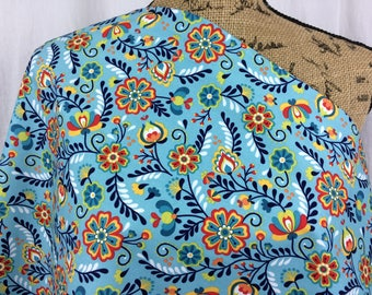 Floral Fabric--Blue Flower Fabric--Red Flower Fabric--Riley Blake Fabric--Quilt Fabric--Home Decor--Juxtaposey Blue--Fabric by the HALF YARD