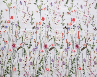 heavy embroidered lace fabric, lace fabric with multi-color flowers, deluxe embroidery mesh lace fabric