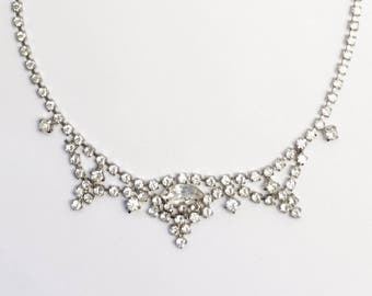 Vintage Prong Set Rhinstone Necklace with Marquis Cut Center Stone