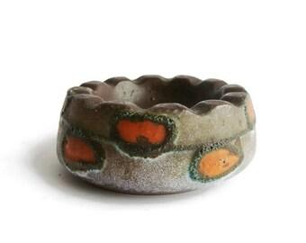 Vintage fat lava ceramic ashtray Strehla Keramik, East German Pottery