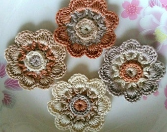 4 Crochet  Flowers In 2 inches  Applies YH - 228-07