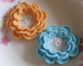 8 Crochet Flowers  In Yellow, Blue, White YH-233