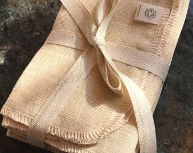 Organic Muslin Wash Cloths. Bundle of 5.