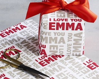 Name Wrapping Paper Personalised with I LOVE YOU