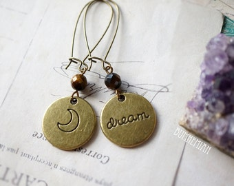 Vintage Brass DREAM + Crescent Moon Tigers Eye Bead, Gypsy Moonchild Gift For Her, Earrings