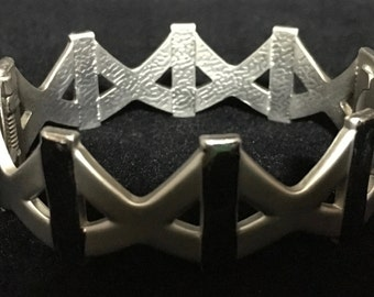 "Geometric Brushed Metal ""X"" Hinged Bracelet   (ABX1G)"