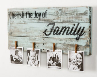 Cherish the Joy of Family Sign on Reclaimed Wood with Clothes Pins to Hang Photos