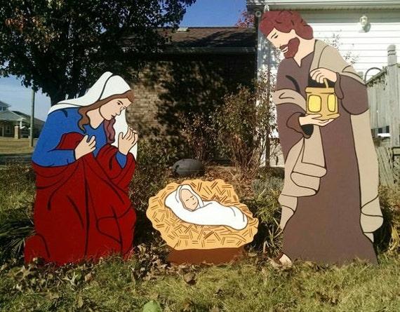Christmas decorations holy family : Holy family nativity christmas yard decorations