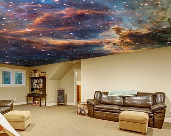 Space Ceiling Decal / Custom Wall Sticker / Universe Milky Way Stars Room Mural / Fantasy Personalised Ceilings Wallpapers + Free Decal Gift