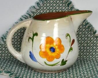 Stangl Della Ware Laurita Pitcher, Vintage Trenton NJ Pottery, Creamy White Milk Jug, Brown Interior, Dark Pink & Gold Flowers