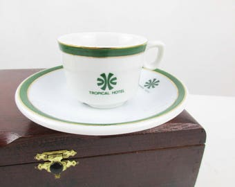 A 'Tropical Hotel' Espresso or Demitasse Cup and Saucer-  Belgium, Greece, US Destination - Porcelain Made in Brazil - Cup and Saucer