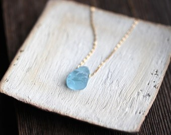 Raw Aquamarine Necklace With Dainty 14K Gold Filled Chain, Blue Crystal Pendant, March Birthstone, Rough Semi Precious Gemstone Jewelry
