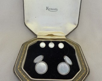 MIB 1920's KREMENTZ Pearl Tuxedo Set in Original Box