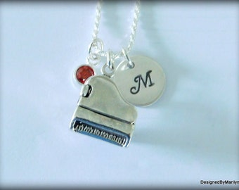 Sterling silver baby grand piano necklace, musician necklace, personalized music necklace, music instructor, music student