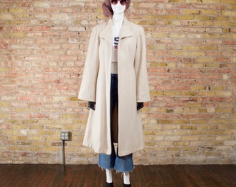 a farewell 80s cream wool robe coat / lightweight coat / minimalist / bell sleeve coat / long overcoat / long wool jacket / wrap coat