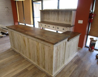 Custom made in the USA Front and Back counter from reclaimed wood