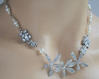 Bridal Necklace,Bridal Rhinestone Necklace,Bridal Pearl Necklace,Swarovski Crystals,Crystal necklace,Swarovski