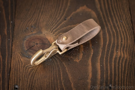 Key belt lanyard / keychain Horween Chromexcel leather - J-hook, natural CXL / brass