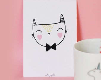 card A6 Bow tie Cat