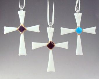 Fused Glass Christmas Cross Ornaments