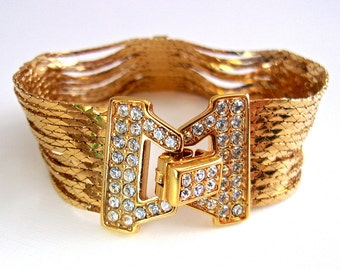 NOLAN MILLER Liquid Gold Chain Rhinestone Bracelet, Glamour Collection, Vintage
